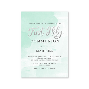 First Communion Mint Watercolor Digital Invitation