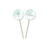 First Communion Mint Watercolor Toppers