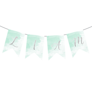 First Communion Mint Watercolor Custom Banner