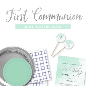 First Communion Mint Watercolor