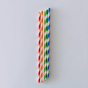 Rainbow Vibes Striped Paper Straws