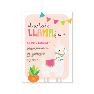 Llama Fun Digital Invitation
