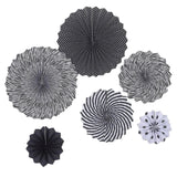 Superhero Black & White Paper Fans - set of 6