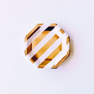 Gold Bachelorette Striped Canapé Plate