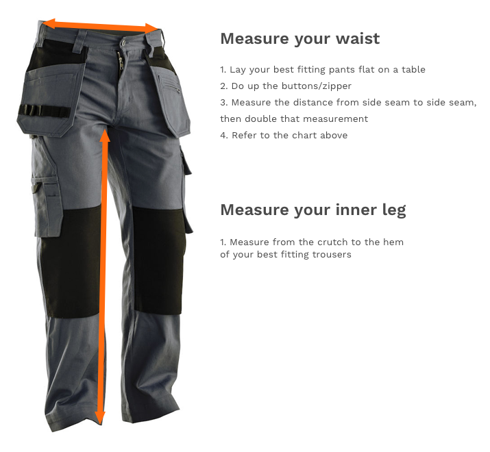 How to measure your workwear trousers