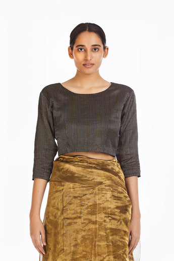 Handwoven Black Gold Textured Metallic Blouse