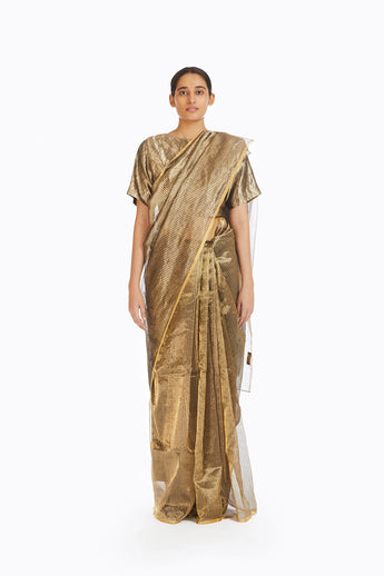 Handwoven Silver on Gold Textured Metallic Saree