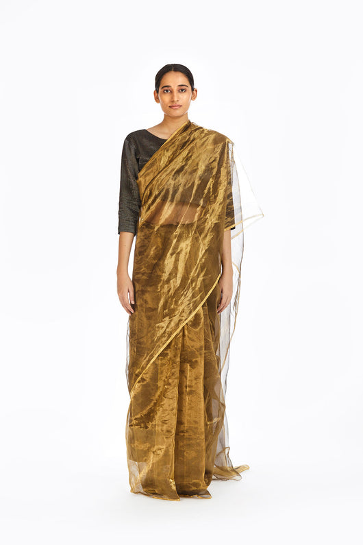 Handwoven Liquid Molten Gold Metallic Saree