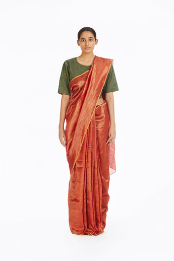 Handwoven Red Chevron Saree