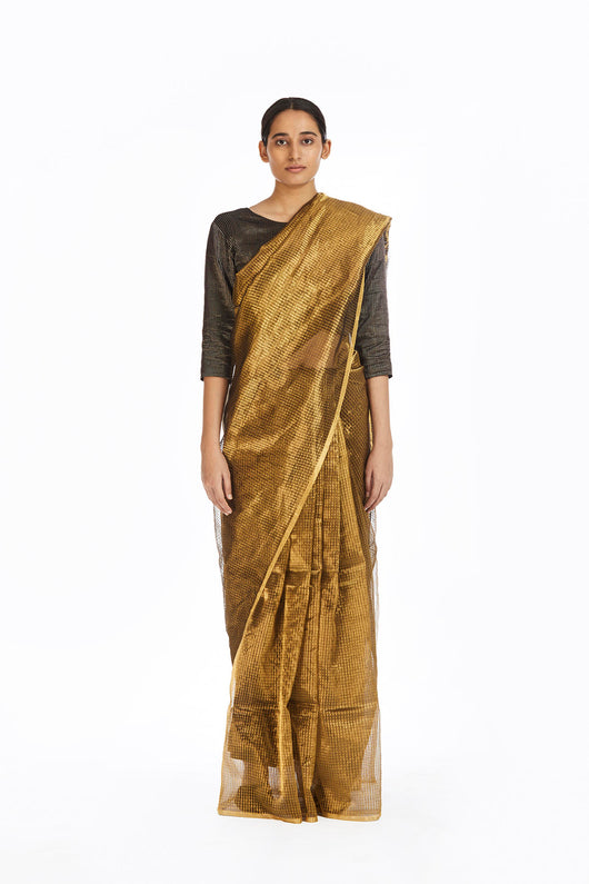 Handwoven Liquid Molten Gold Textured Metallic Saree