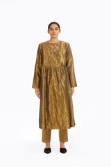 Handwoven Liquid Molten Gold Metallic Angrakha
