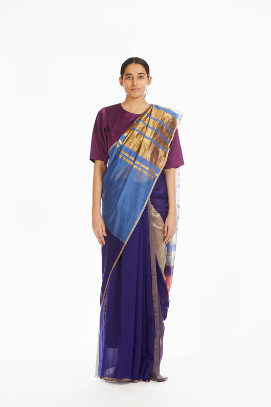 Handwoven Pink Purple Engineered Saree
