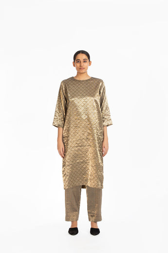 Handwoven Silver on Gold Textured Metallic Trouser