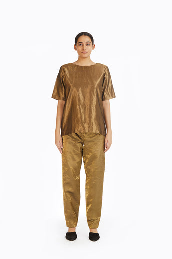 Handwoven Liquid Molten Gold Metallic Trouser