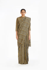 Handwoven Striped Linen Zari Cotton Silk Saree