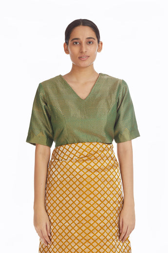 Handwoven Engineered Green Brocade Blouse