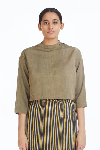 Handwoven Khakigreen Collared Blouse
