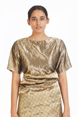 Handwoven Silver on Gold Rectangle Blouse