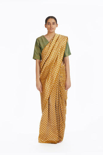 Handwoven Mustard Silk Brocade Saree