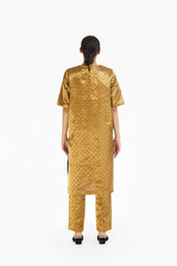 Handwoven Gold on Gold Metallic Longline Tunic