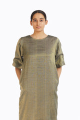 Handwoven Gold Crack Shift Dress