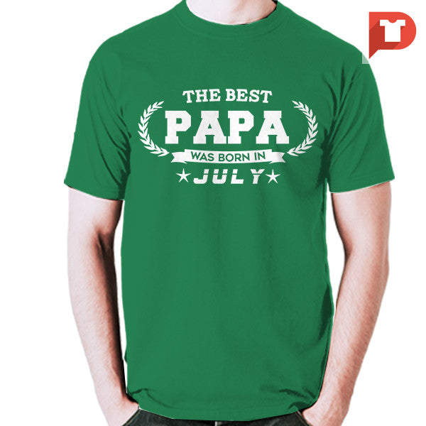 The Best Papa was born in July V.B7 Cotton Tee