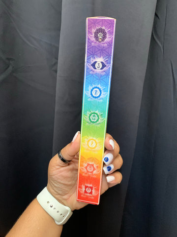 Wooden Printed Incense Holder - 7 Chakras