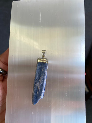 Electroplated Blue Kyanite Pendant