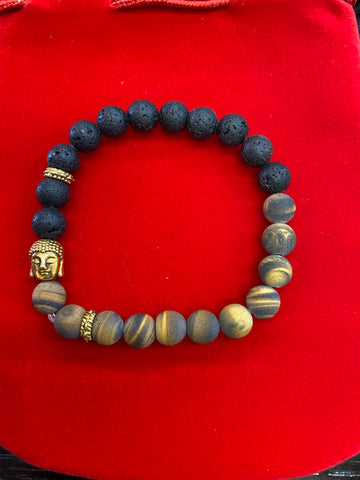 Tiger Eye Lava Bracelet With Buddha Head