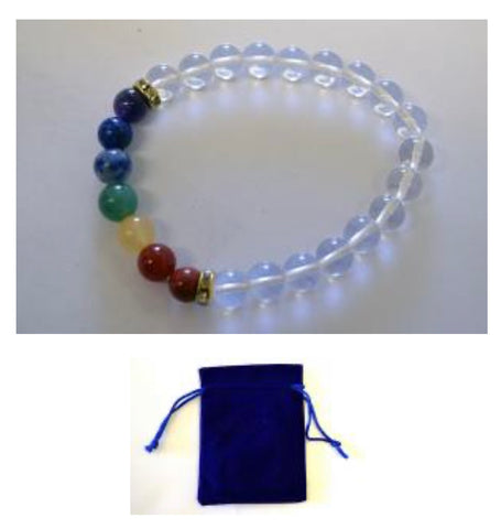 Crystal Quartz (Crown Chakra) Bracelet w/ Velvet Bag.