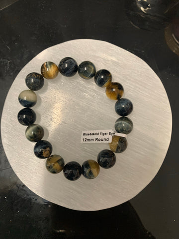 Blue and Gold 12 MM Tiger's eye Bracelet