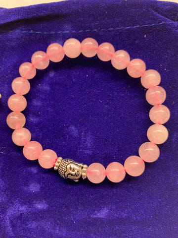 Rose Quartz w Buddha head  Bracelet w/ Velvet Bag.