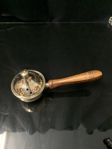 "7"" Solid Brass Burner with Lid & wood Handle"
