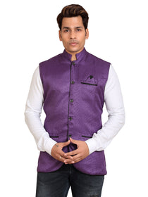 Men's Blended Bandhgala Festive Nehru Jacket/Waistcoat/Vest - Mate Purple
