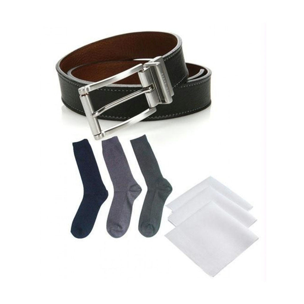 Leather Belt + Set Of 3Cotton Socks+ Handkerchiefs