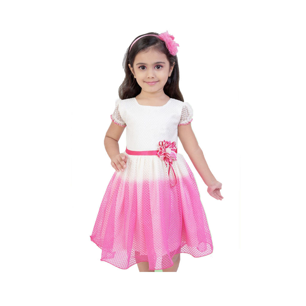 Pink And Off White Casual Dress For Girls