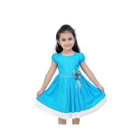 Sky Blue Casual Dress For Girls