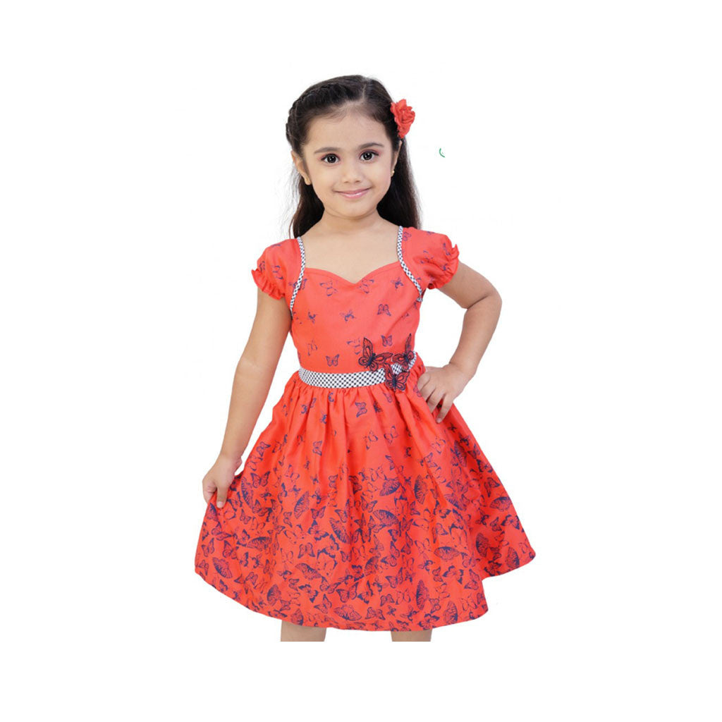 Orange Red Casual Dress For Girls