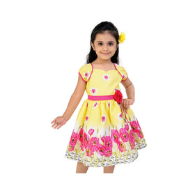 Yellow And Pink Casual Dress For Girls