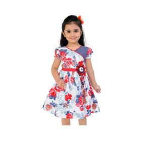 Red And Blue Floral Casual Dress For Girls