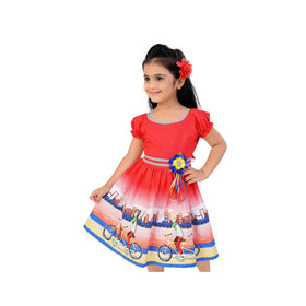 Tomoto Red Frock For Girls