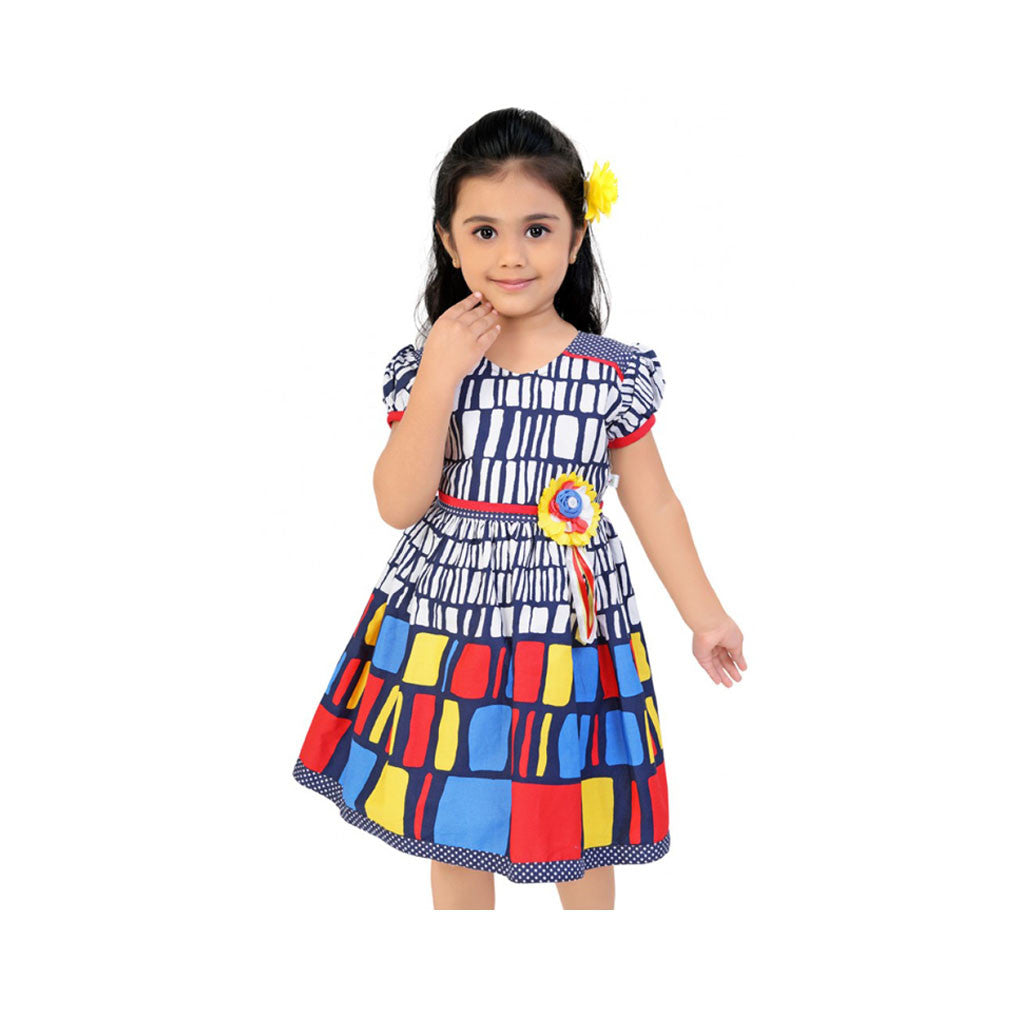 Multi Color Box Print Frock For Girls