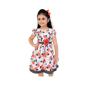 Off White Casual Frocks For Girls