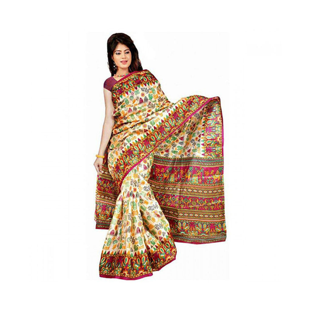 Bhagalpuri Art Silk Printed Saree With Blouse Piece -M.No 15