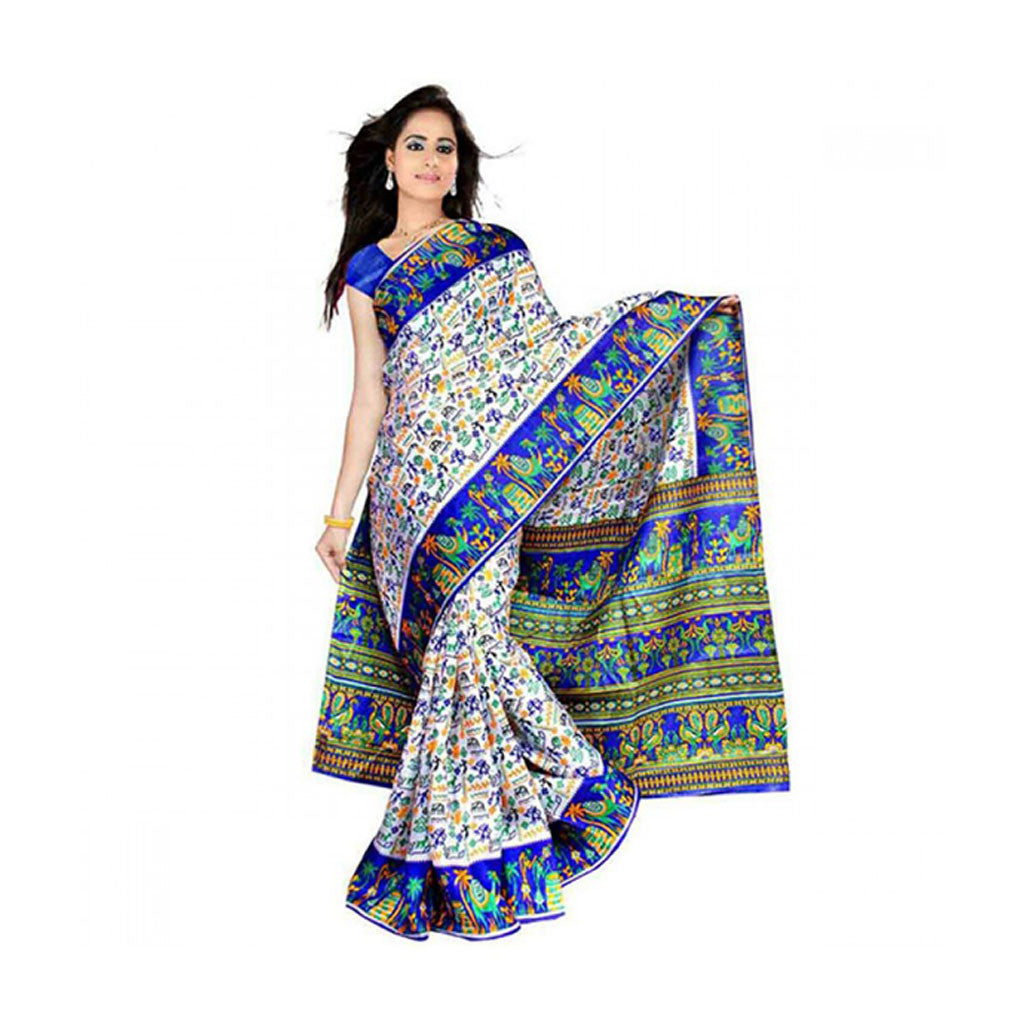 Bhagalpuri Art Silk Printed Saree With Blouse Piece -M.No 21