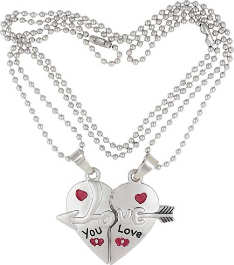 Couple Lover's Valentine Special Broken Two Half Heart Shape Love Pendant Locket for Men and Women