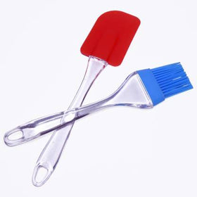 Silicone Non-Sticky Spatula and Oil Brush Reusable Kitchen Set for Cooking Multicolor (Set of 2)