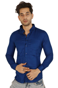 100% Cotton Blue Plain Solid Casual Regular Fit Full Sleeves Shirt for Men