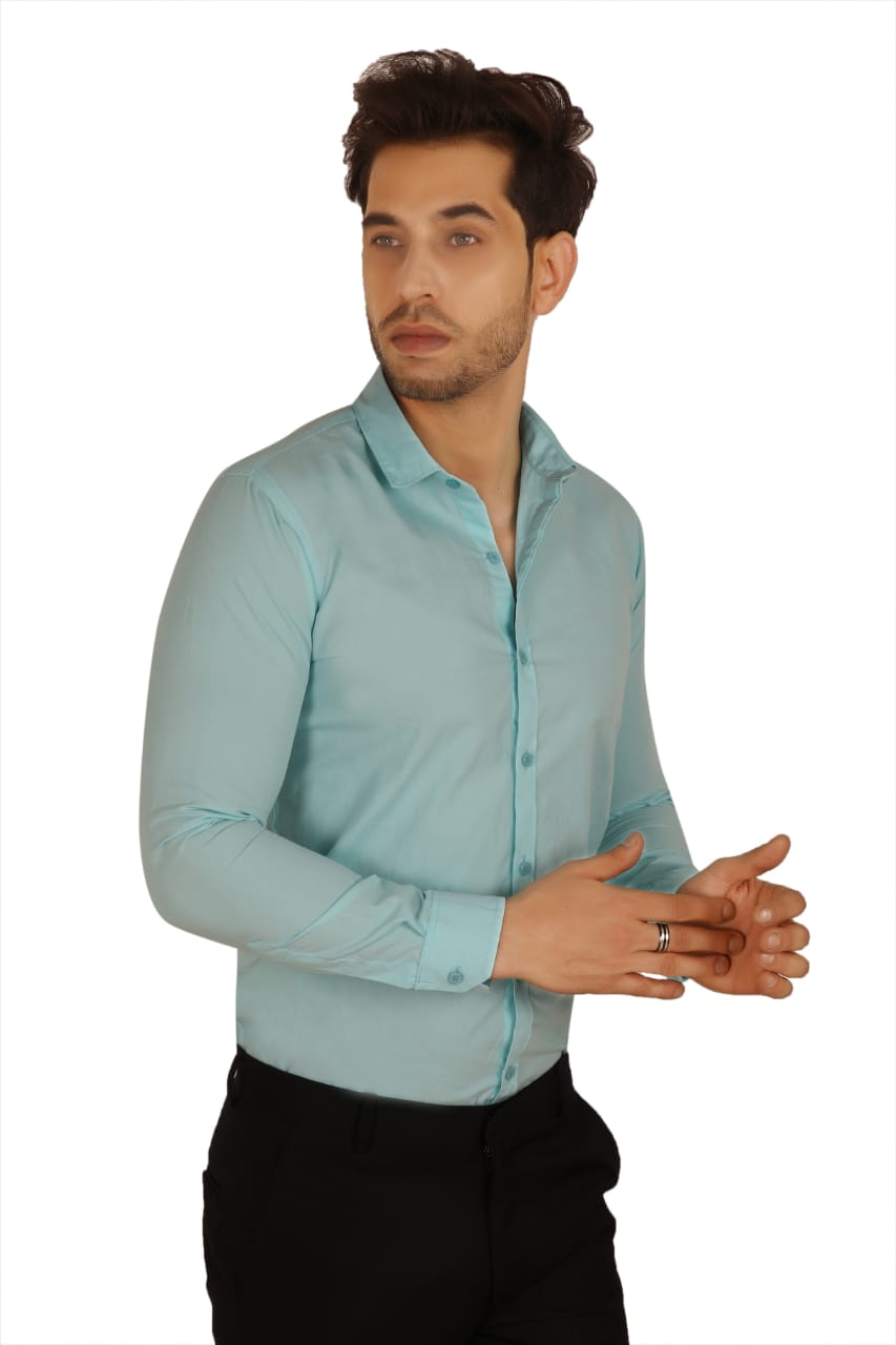 100% Cotton Plain Solid Casual Regular Fit Full Sleeves Shirt for Men