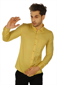 100% Cotton Golden Yellow Plain Solid Casual Regular Fit Full Sleeves Shirt for Men